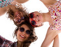 Three girls joining together Royalty Free Stock Photo