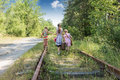 Three girls on the railway Royalty Free Stock Photo