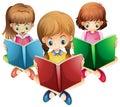 Three girls reading books