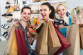 Three girls shopping together Royalty Free Stock Photo