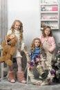 Three girls waiting in christmas Stock Image