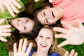 Three girls waving hands Royalty Free Stock Photography