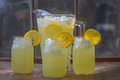 Three glass jars of lemonade Royalty Free Stock Photo