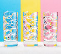 Three glasses on colorful background vintage style Stock Photo