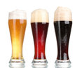 Three glasses with different beers Royalty Free Stock Photo
