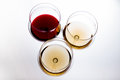 Three glasses with red and white wine, the top view Royalty Free Stock Photo