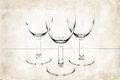 Three glasses on vintage paper empty old Royalty Free Stock Photography