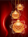 Three gold christmas balls Royalty Free Stock Photos