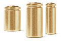 Three gold color batteries on white background Royalty Free Stock Image