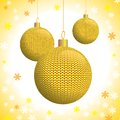 Three gold knitted christmas balls on the background of snowflakes vector illustration eps Royalty Free Stock Image