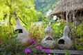 Three gourds in the garden of the healing village of saiko iyashi no sato nenba in japan Royalty Free Stock Photography