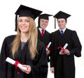 Three graduates Stock Photo