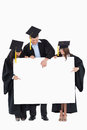 Three graduates pointing to the blank sign Stock Photos