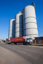 Three grain silos truck large at harbor port for export and container in durban south africa Royalty Free Stock Images