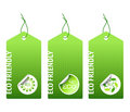 Three green bio labels Royalty Free Stock Photography