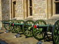 Three green cannon london Royalty Free Stock Photos
