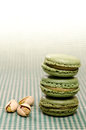 Three green Macarons Stock Image