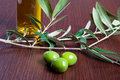 Three green olives italian and oil Stock Images