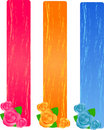 Three grunge banners with roses Royalty Free Stock Photo