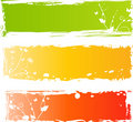 Three grungy multicolored banners with florals Royalty Free Stock Photo