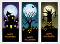 Three Halloween banners with castle and pumpkin and spooky tree Royalty Free Stock Photo