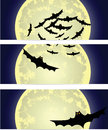 Three halloween banners with the moon and bats Stock Photos