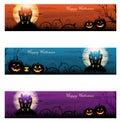 Three Halloween haunted house background