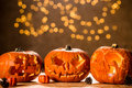 Three Halloween pumpkin lanterns Royalty Free Stock Photo