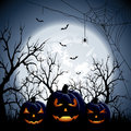 Three halloween pumpkins on moon background illustration Stock Photos