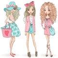 Three hand drawn beautiful cute cartoon summer girls. Royalty Free Stock Photo