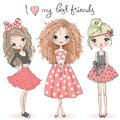 Three hand drawn beautiful cute girls on the background with the inscription I love my best friends. Royalty Free Stock Photo