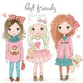 Three hand drawn beautiful cute little girls with Teddy bears on the background with the inscription best friends. Royalty Free Stock Photo