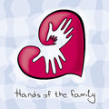 Three hands of the family in heart