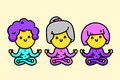 Three happy cartoon style old ladies doing yoga vector illustration Royalty Free Stock Photo