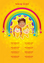 Three happy children in a rainbow and the sun Royalty Free Stock Photography