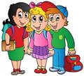 Three happy school kids Royalty Free Stock Photography