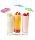 Three healthy nonalcoholic cocktails set of from berries banana and ice cream Stock Images