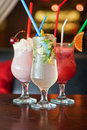 Three healthy nonalcoholic cocktails set of berries and classic mohito Royalty Free Stock Photography