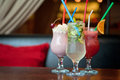 Three healthy nonalcoholic cocktails set of berries and classic mohito Stock Image