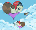 Three heart balloon in the sky with a picture of a kissing couple on them comic book style illustration Stock Image