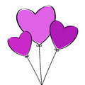 Three heart balloons pink love Royalty Free Stock Photos