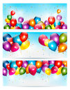 Three holiday banners with colorful balloons.