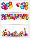 Three holiday birthday banners with balloons.