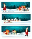 Three Holiday Christmas banners with a gift boxes