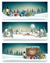 Three Holiday Christmas banners with a winter village Royalty Free Stock Photo