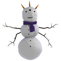Three horned, three eyed, four armed, alien looking snowman Royalty Free Stock Photo