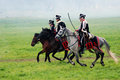 Three horse riders at Borodino, Russian army soldiers-reenactors Royalty Free Stock Photo
