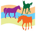Three horses seamless pattern illustration Royalty Free Stock Photo