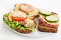 Three hot chicken and ham sandwiches Royalty Free Stock Photo