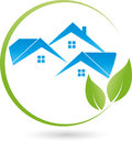 Three houses and leaves, plant, real estate and eco houses logo